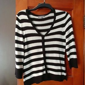 Black and white knit striped cardigan